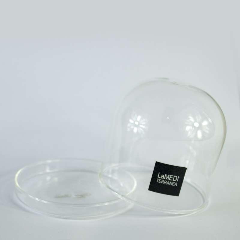 Mini campana de cristal con plato 8x8cm 4 uds www - Campana de cristal ikea ...