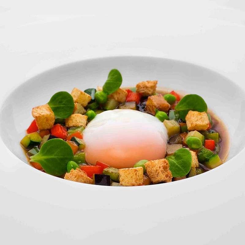 Huevo a baja temperatura fricass de verduras y caldo de for Cocina baja temperatura thermomix